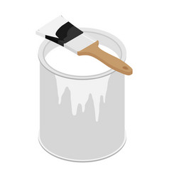 Metal paint can with white paint and paintbrush vector