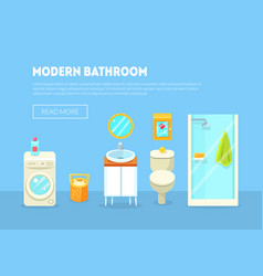 modern bathroom interior banner template with vector image