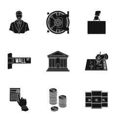 Money and finance set icons in black style Big vector image
