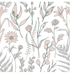 Monochrome seamless pattern with blooming wild vector