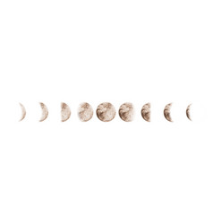 Moon phases set watercolor isolated vector