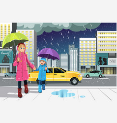 Mother daughter in the rain vector