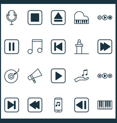 Multimedia icons set collection of rostrum piano vector