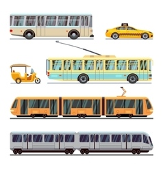 Municipal city transport flat icons set vector image