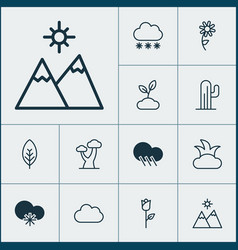 Nature icons set collection of oak raindrop vector