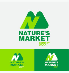 Nature s market n and m monogram green food logo vector