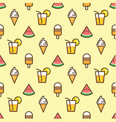 Pattern ice cream watermelon slice fruit vector
