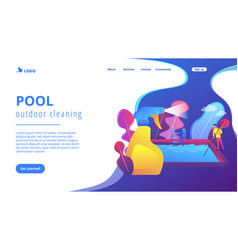 pool and outdoor cleaning concept landing page vector image