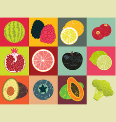 Pop art retro grunge style fruit poster vector