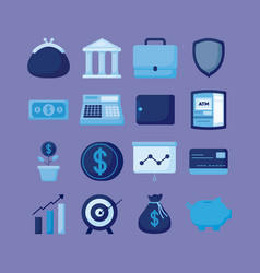 Portfolio with set icons economy finance vector