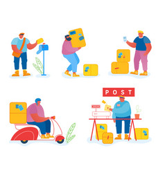 post office workers and clients set isolated on vector image
