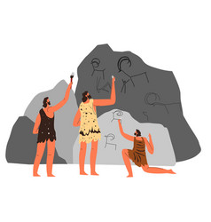 Prehistoric art people drawing animals on caves vector
