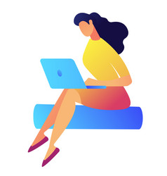 pretty female designer with dark hair working on vector image
