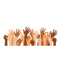 raised hands different race vector image