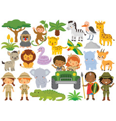 safari clipart bundle cute animals and kids vector image