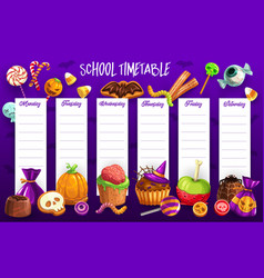 School timetable template with halloween candies vector