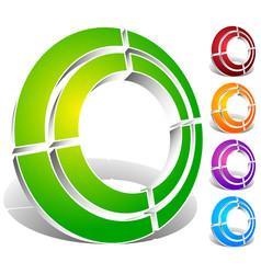 Segmented circle abstract icon circular geometric vector