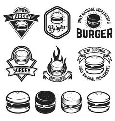set burger labels design elements for logo vector image
