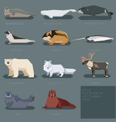 Set flat geometric animals arctic vector