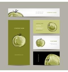 Set of business cards design apple sketch vector
