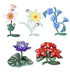 set of decorative interior items isolated on a vector image