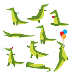 set of fun green crocodiles occupying a pleasant vector image
