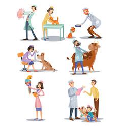 Set professional vet doctors animals vector