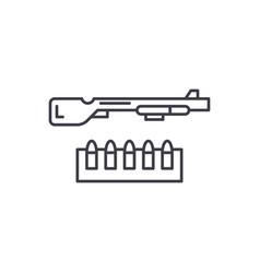 shotgun and ammo line icon concept shotgun and vector image