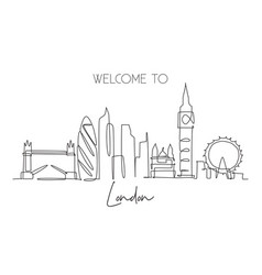 single continuous line drawing london city vector image