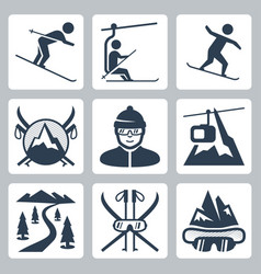 ski and snowboard resort icon set vector image