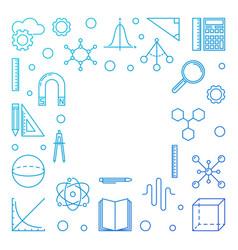 Stem blue square frame concept outline vector