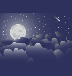 the moon in the night sky and clouds vector image