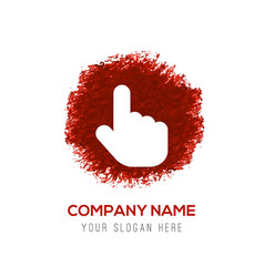 touching hand simple icon - red watercolor circle vector image