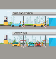 two horizontal banners with charging station and vector image