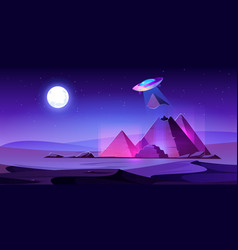 Ufo steal egypt pyramids top in night desert vector