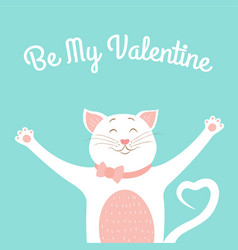 Valentine day card template cute smiling cat love vector