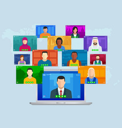 Video conference online meeting work form home vector