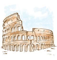Watercolor roman colosseum vector