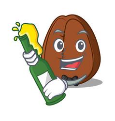 with beer coffee bean mascot cartoon vector image