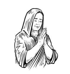 woman folded her hands for praying sketch vector image