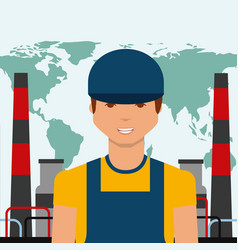 worker portrait chemical plant world oil industry vector image