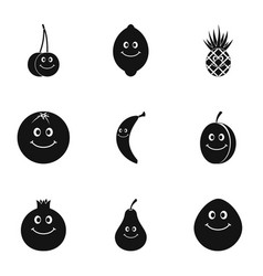 fruit face icon set simple style vector image vector image