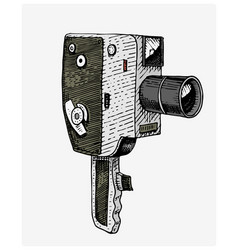 photo movie or film camera vintage engraved hand vector image