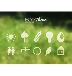 blurred landscape forest ecology icons vector image vector image