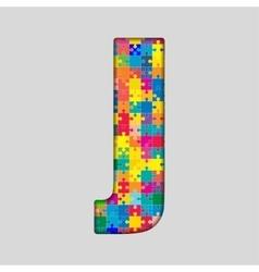 Color Puzzle Piece Jigsaw Letter - J vector image