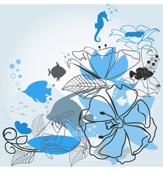 Fishes a flower vector image vector image