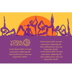 Flat colorful set of yoga poses vector image vector image