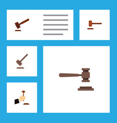 flat icon hammer set of tribunal law defense and vector image