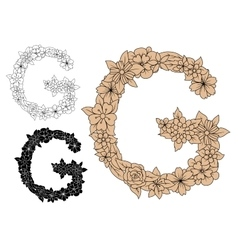 Floral capital letter g with blooming flowers vector