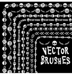 Grunge collection line brushe skull vector image vector image
